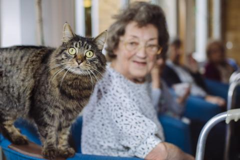 Libby with one of the animal-loving residents, Delia Cole